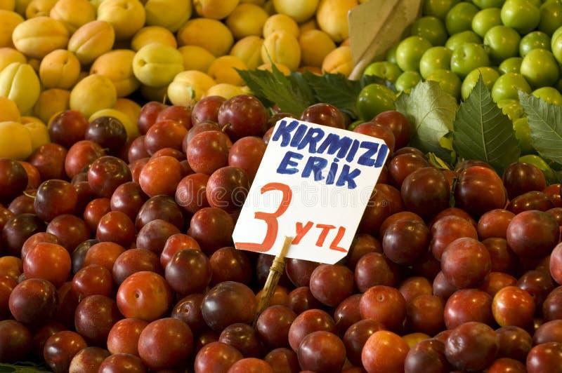 Red plum. At a street market, Turkey-Istanbul stock photos