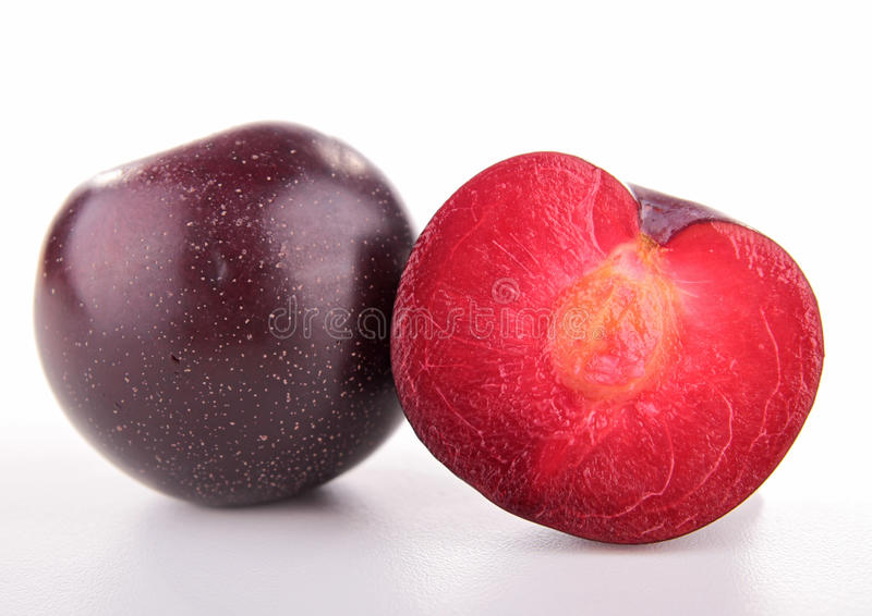 Download Red plum stock photo. Image of fruit, background, white - 25865614