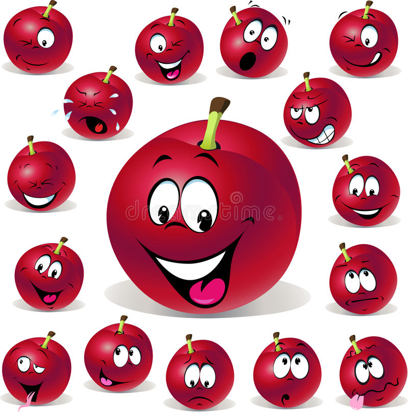 Red plum cartoon illustration with many expression