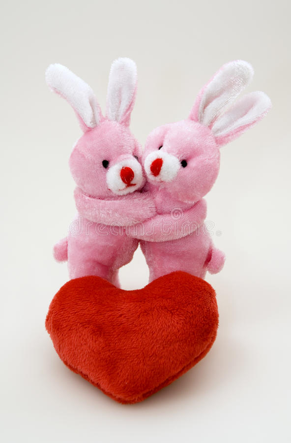 Download Red Plush Heart And Two Bunny Royalty Free Stock Photography - Image: 29129507