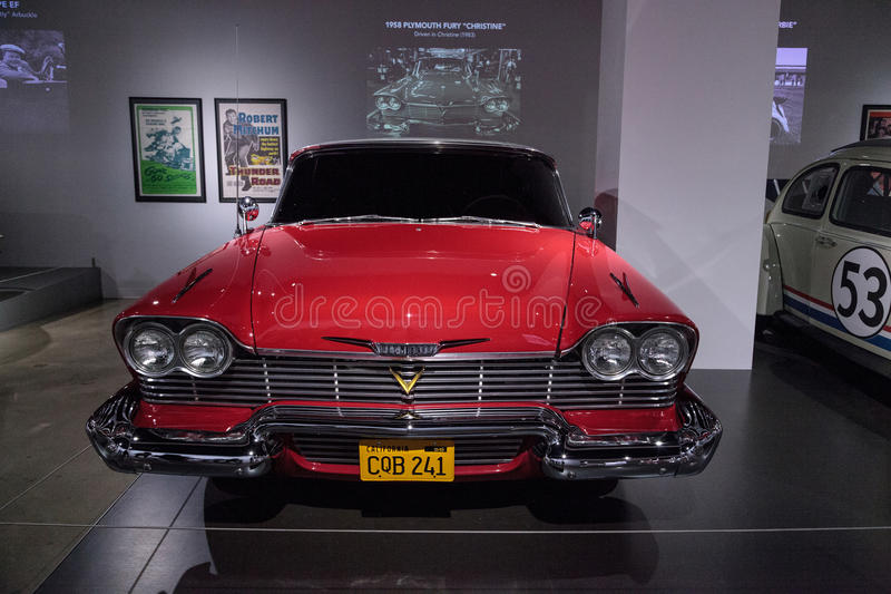 Red 1958 Plymouth Fury stunt car. Los Angeles, CA, USA - March 4, 2017: Red 1958 Plymouth Fury stunt car from the movie Christine from the collection of Martin stock photography