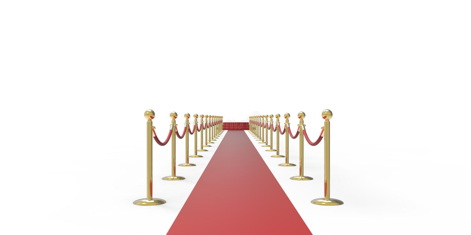 Red podium on red carpet VIP way gold fence on white gray background stock illustration