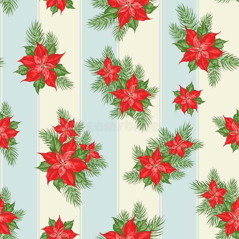Red poinsettia flower pattern. Seamless christmas background with christmas star. Handmade floral seamless pattern with stock illustration