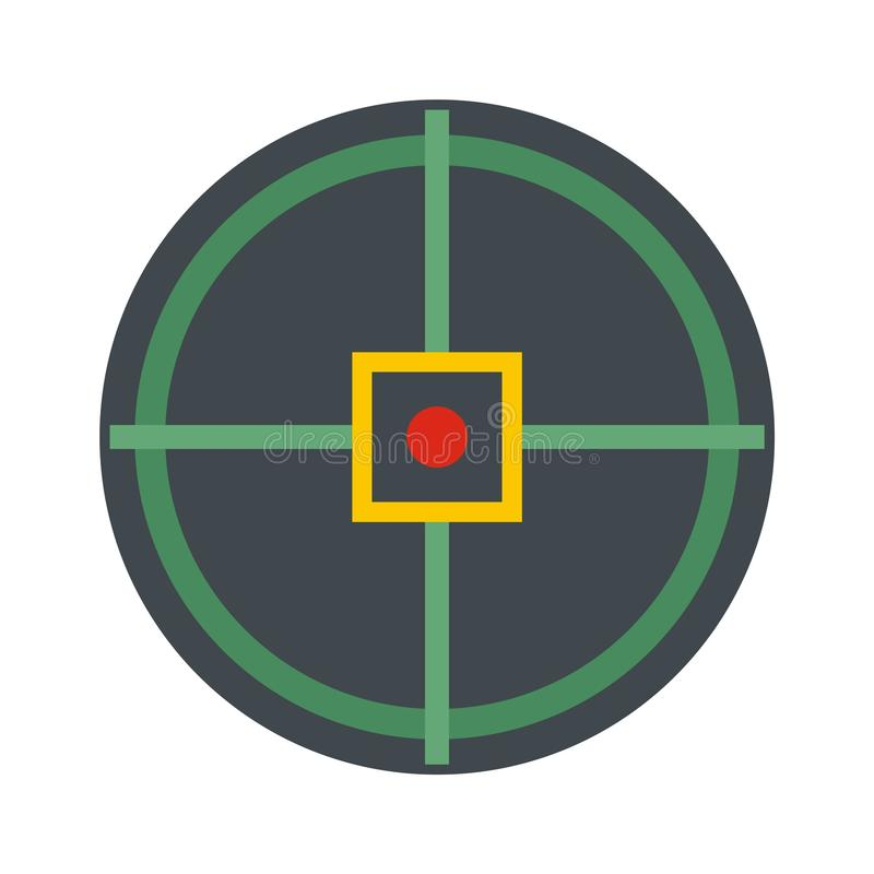 Red point gun aim icon, flat style. Red point gun aim icon. Flat illustration of red point gun aim vector icon for web isolated on white royalty free illustration