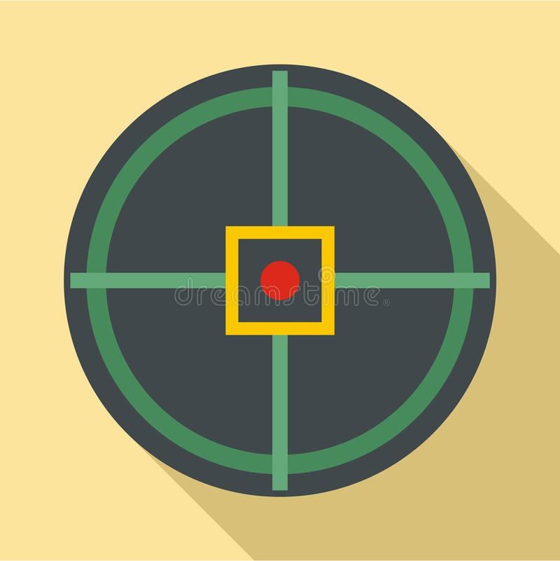 Red point gun aim icon, flat style. Red point gun aim icon. Flat illustration of red point gun aim icon for web design vector illustration