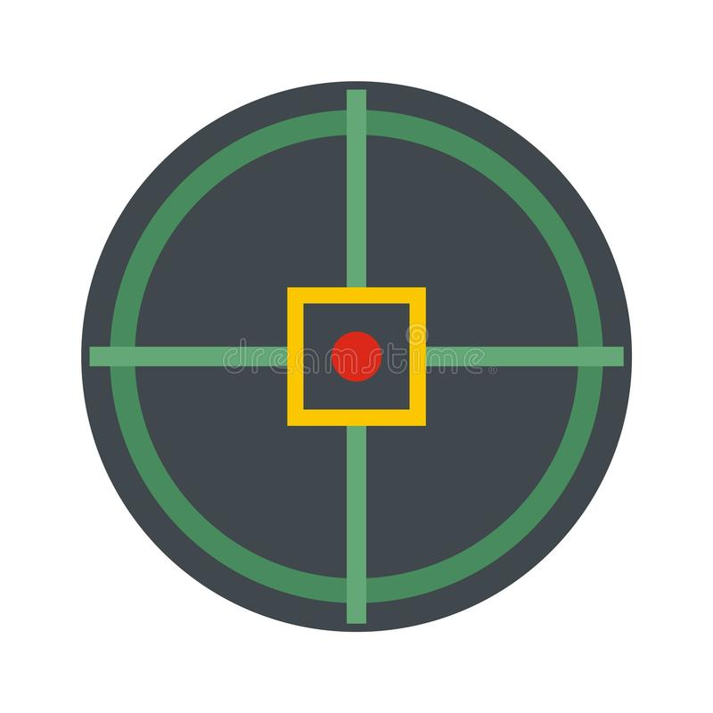 Red point gun aim icon, flat style. Red point gun aim icon. Flat illustration of red point gun aim icon for web isolated on white vector illustration
