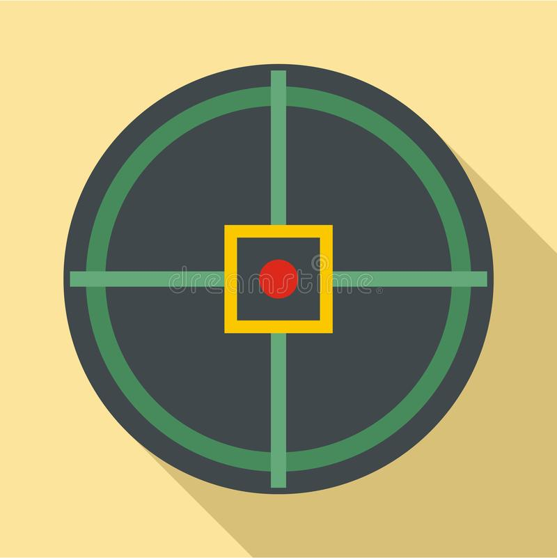 Red point gun aim icon, flat style. Red point gun aim icon. Flat illustration of red point gun aim vector icon for web design royalty free illustration