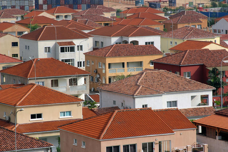 Red Pointe-Noire roofs. Top view of a district of villas in Pointe-Noire, Congo Republic, february 2015 stock image