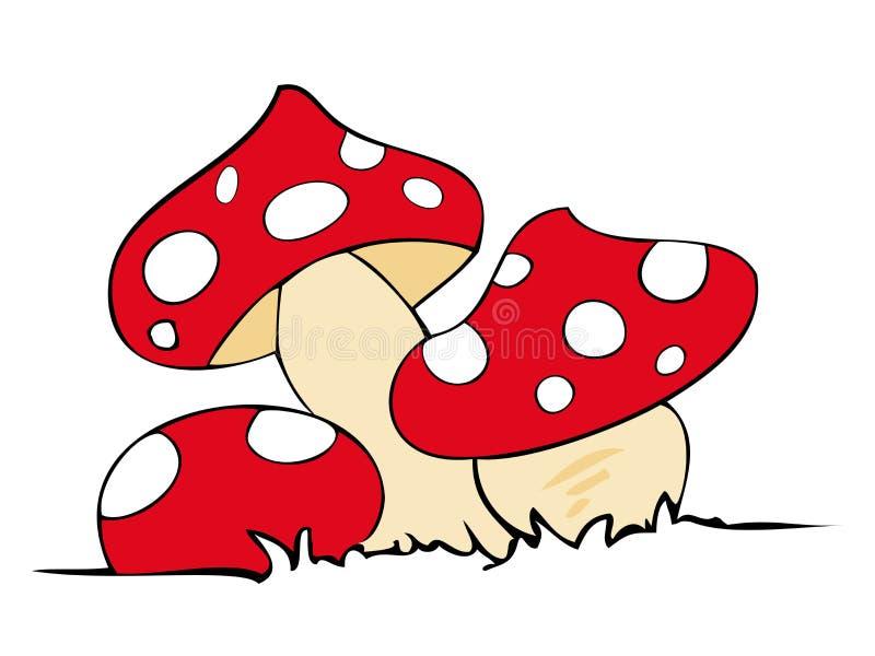 Red poison mushrooms.