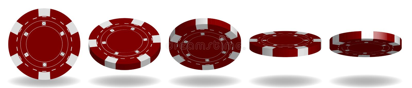 Red poker chips vector. 3D Realistic Set. Flip different angles. Plastic poker chips sign isolated on white background vector illustration