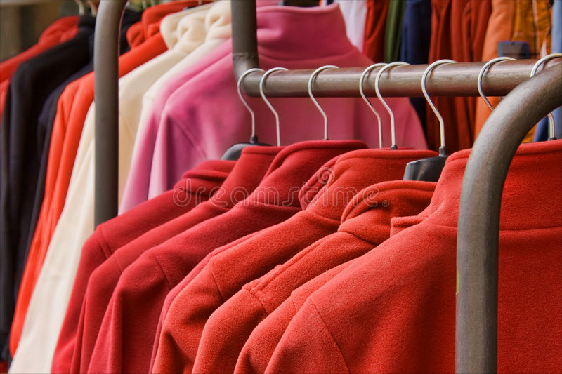 Red polar fleece jackets royalty free stock photos