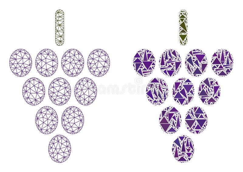 Red poligonal Mesh Grape Berry e icono del mosaico libre illustration