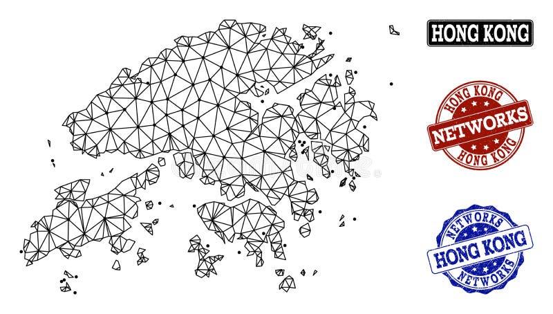 Red poligonal Mesh Vector Map de los sellos del Grunge de Hong Kong y de la red stock de ilustración