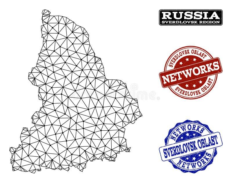 Red poligonal Mesh Vector Map de los sellos del Grunge de la región y de la red de Sverdlovsk ilustración del vector