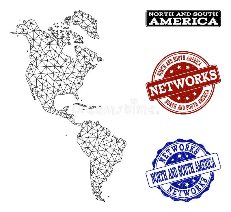 Red poligonal Mesh Vector Map del sur y de los sellos del Grunge de Norteamérica y de la red libre illustration