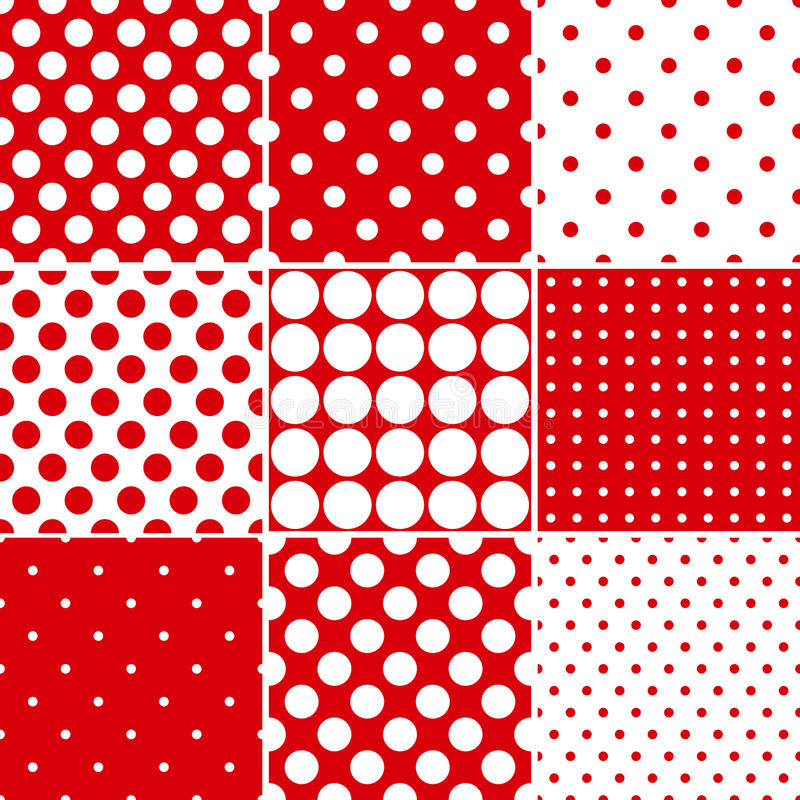 Red polka dot seamless patterns vector illustration