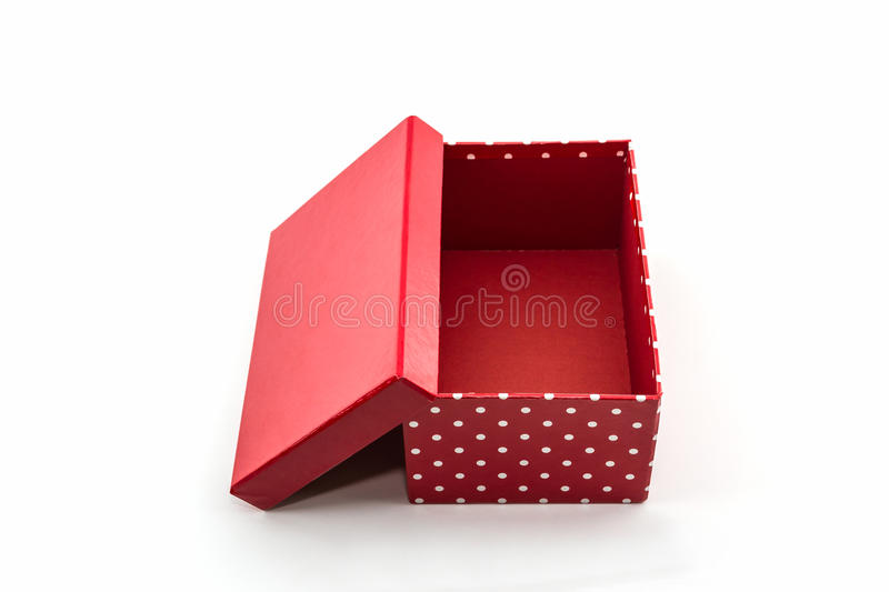 Red polka dots box, with clipping path. royalty free stock photo