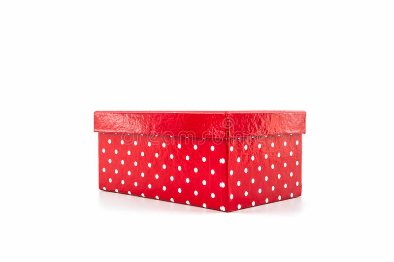 Red polka dots box. stock photography