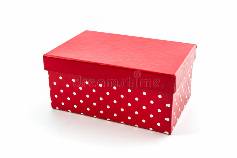 Red polka dots box. stock images