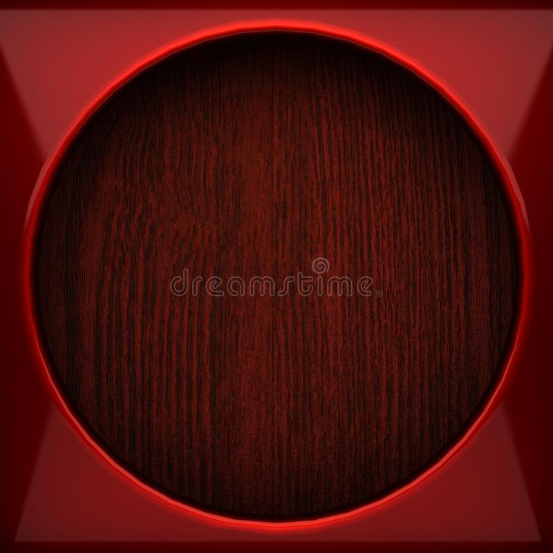 Red pollished metal on wooden bachkround. 3D rendered vector illustration