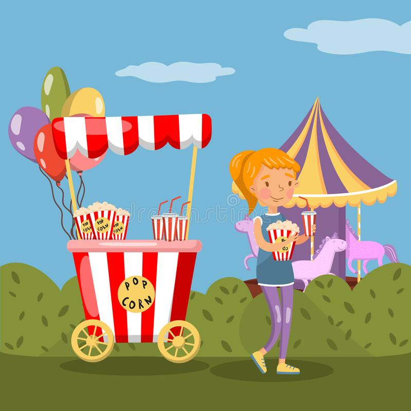 Red popcorn booth and girl eating popcorn in amusement park vector illustration, colorful design element for poster or vector illustration