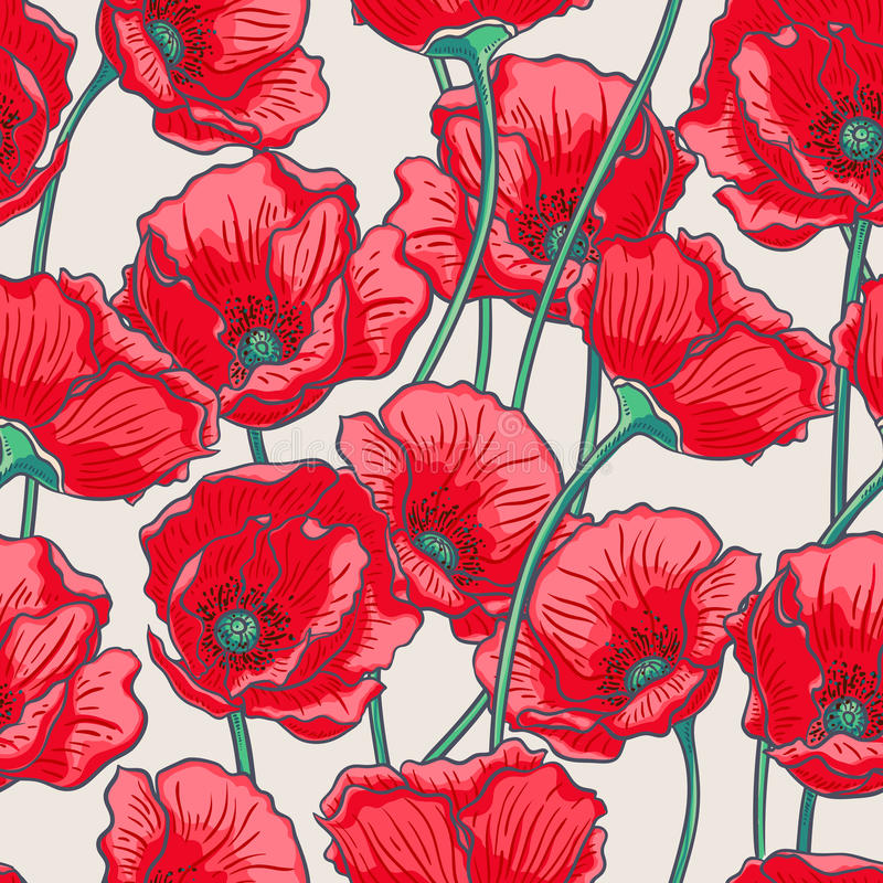 Red poppies vector illustration
