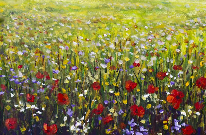 Red poppies flower field oil painting, yellow, purple and white flowers artwork. Red poppies flower field oil painting, yellow, purple and white flowers in green royalty free stock photos