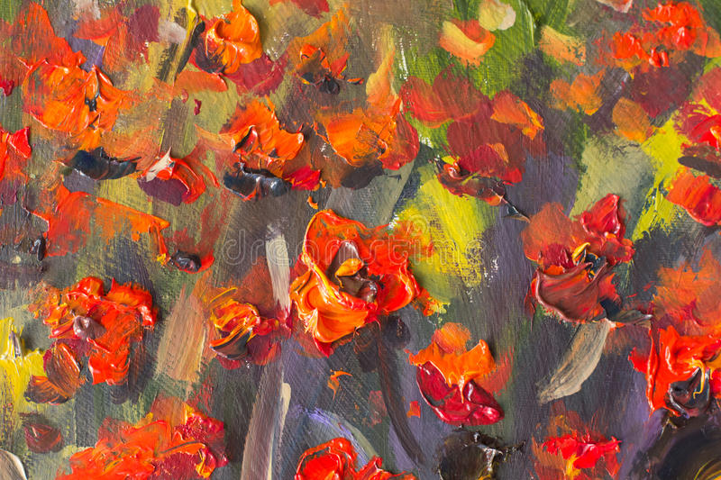 Red poppies flowers painting. Macro Close up fragment royalty free stock photo