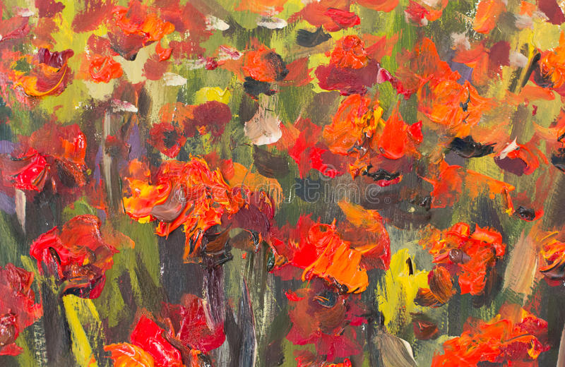 Red poppies flowers painting. Macro Close up fragment stock illustration