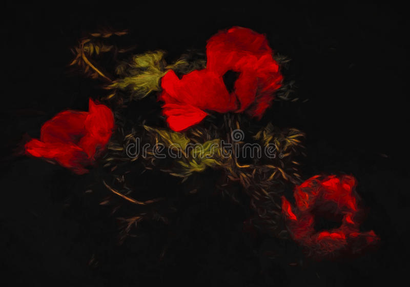 Red Poppies and Leaves Abstract royalty free stock images