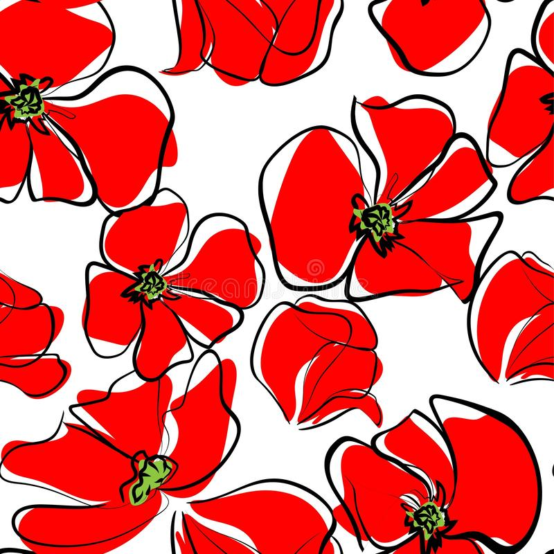 Red poppies seamless pattern. Illustration on colorless background.  royalty free illustration