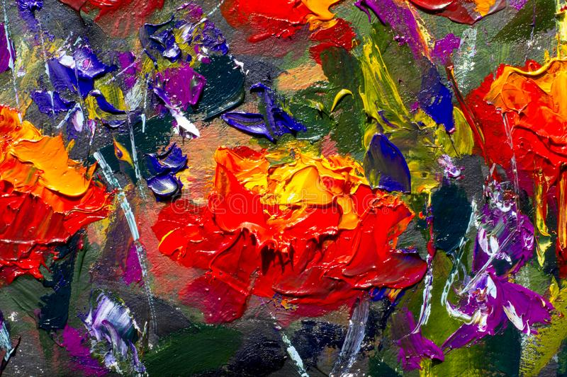 Macro flowers Red yellow poppies in green grass. Fragment of close-up painting. Canvas, oil, palette knife. Abstract flowers. Text. Red poppies textured blossoms royalty free stock image