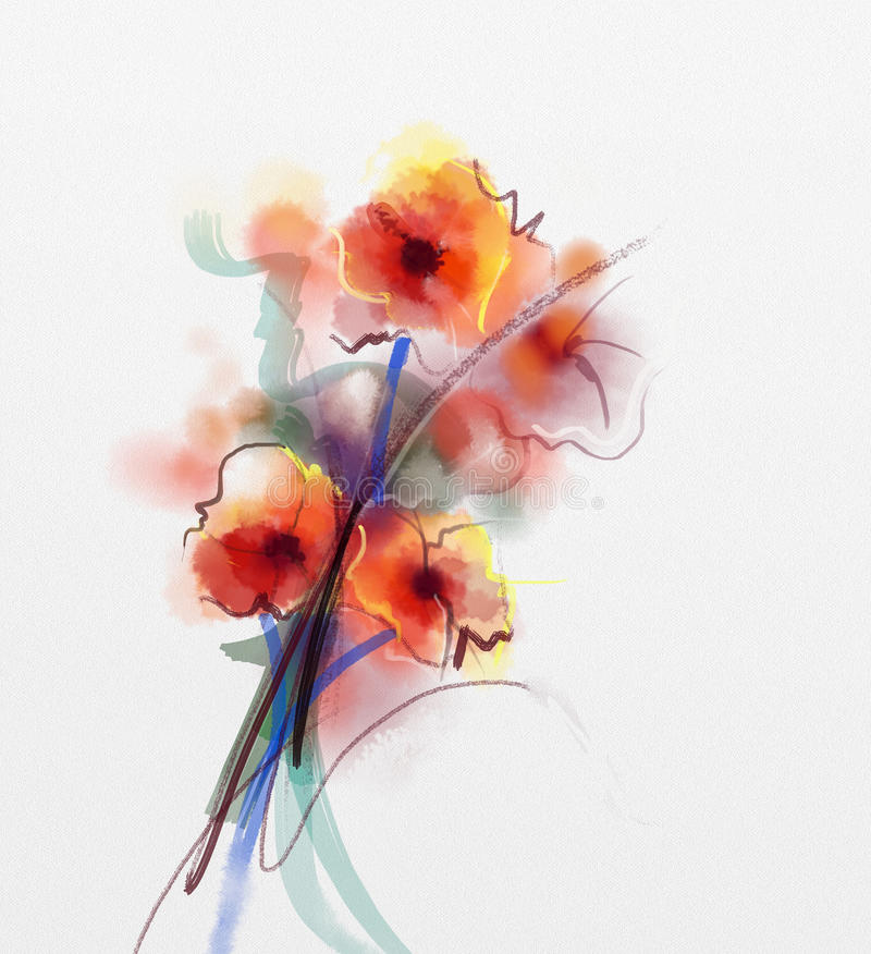 red poppy floral watercolor painting stock illustration