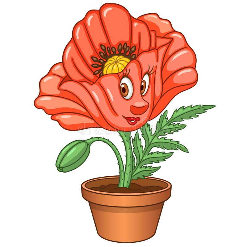 Cartoon red poppy flower royalty free stock images