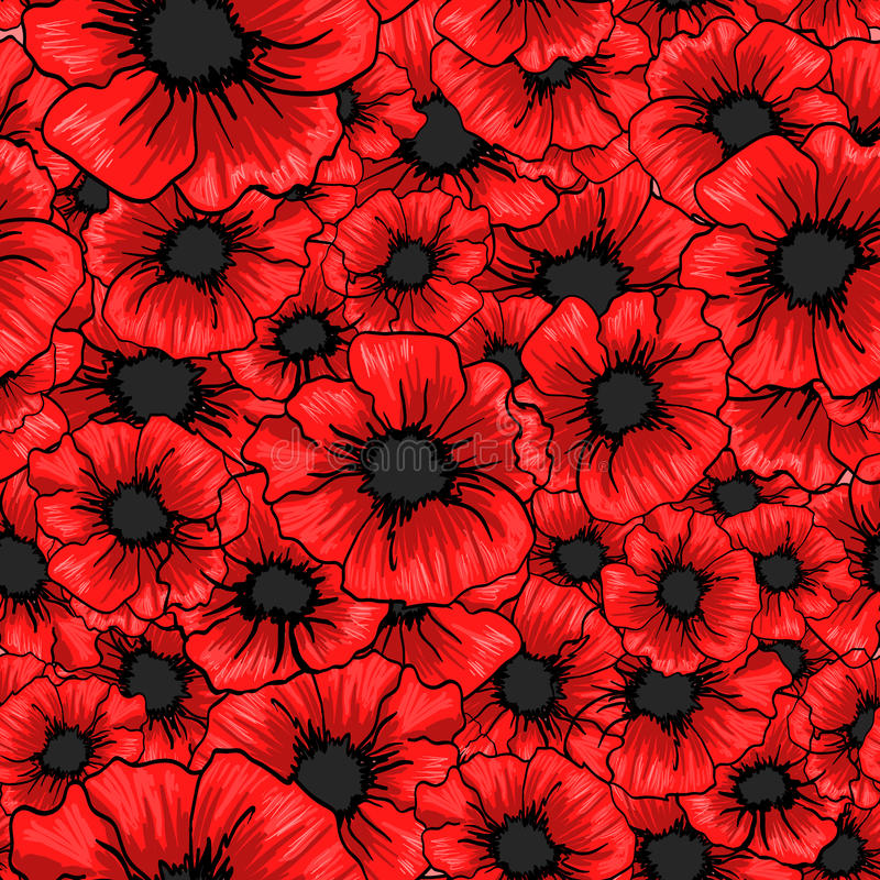 Red poppy flower seamless pattern. For fabric textile design. royalty free illustration