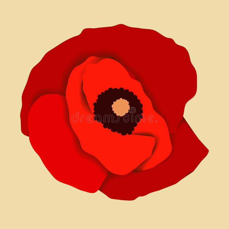 Red poppy flower, top view. On orange royalty free illustration