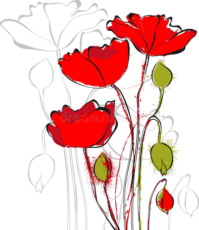 Download Red Poppy flowers stock vector. Illustration of nature - 25554467