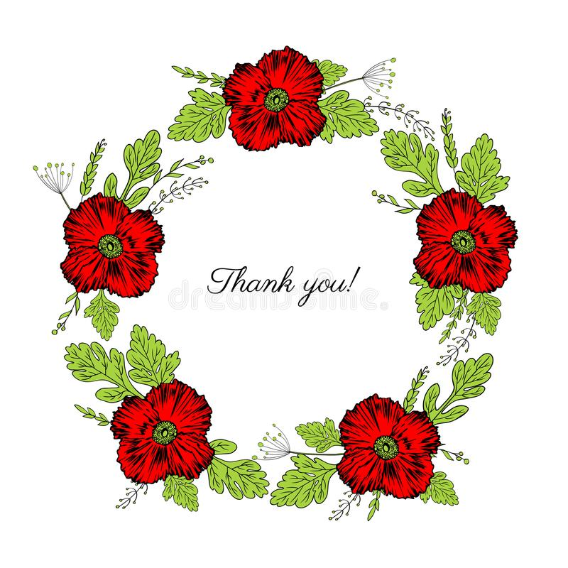 Red poppy flowers, leaves floral wreath isolated on a white stock illustration
