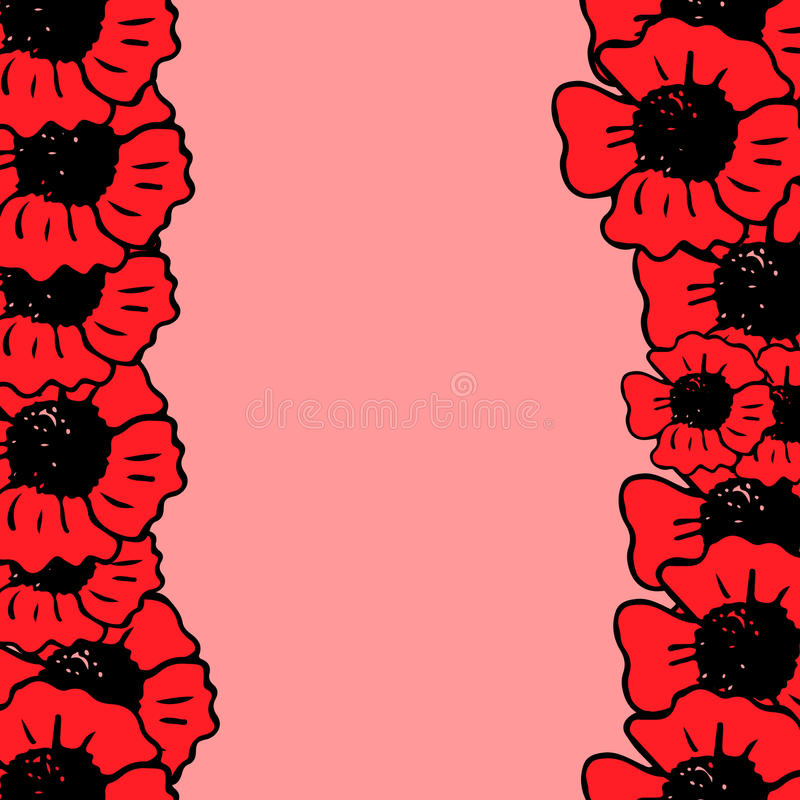 Red poppy frame on the pink background vector illustration