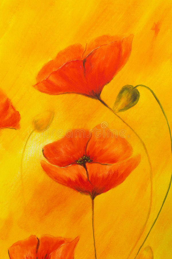 download red poppy on orange background red poppies red flower on abstract color background