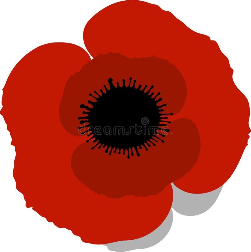 Red Poppy. Over white. EPS 10 vector illustration