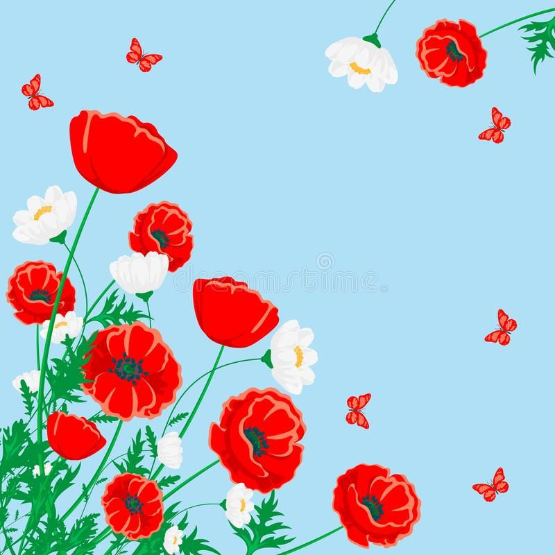 Red poppy and white chamomile illustration. Vector flower with butterfly on blue. stock illustration
