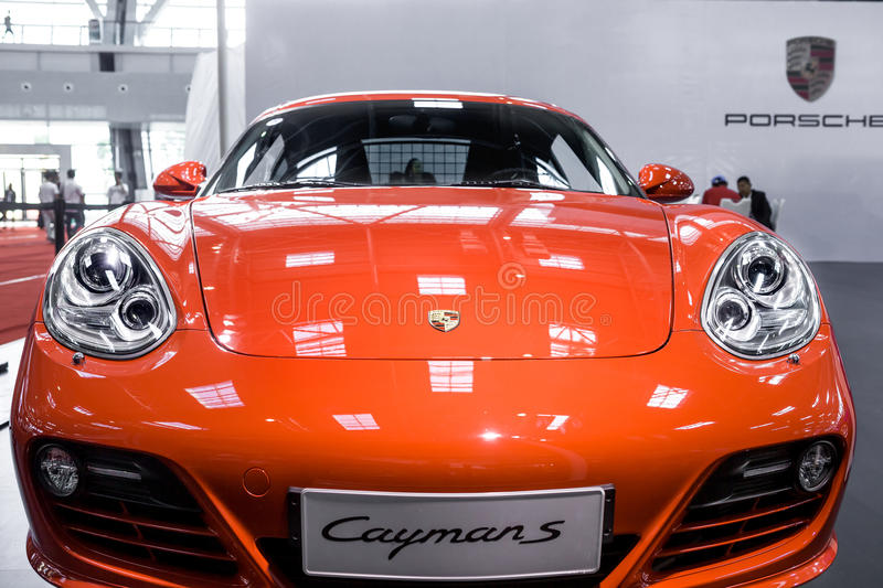 Red Porsche Cayman S. Is on show, October 2013 Liuzhou auto show stock images