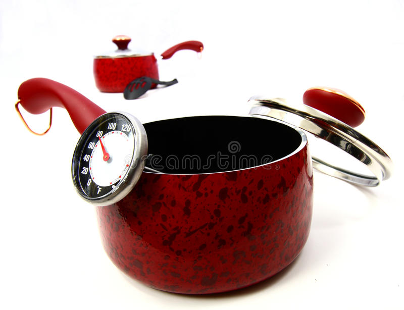 Download A red pot stock image. Image of crockpot, black, kitchen - 11184467