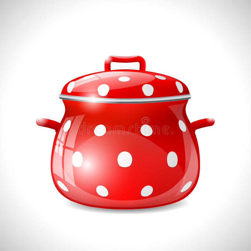 Tassen Crockery : Red pot with white dots stock photography image