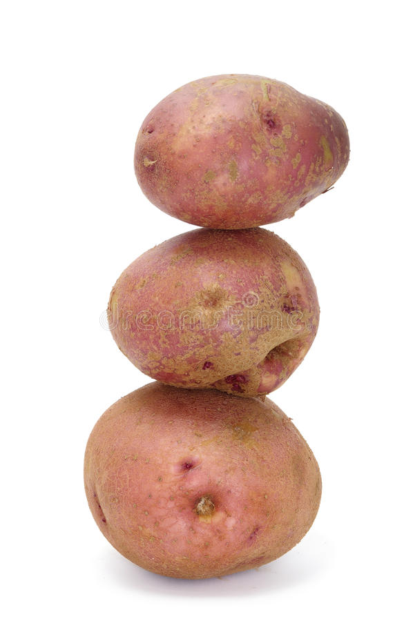 Red potatoes. A pile of red potatoes isolated on a white background stock photography