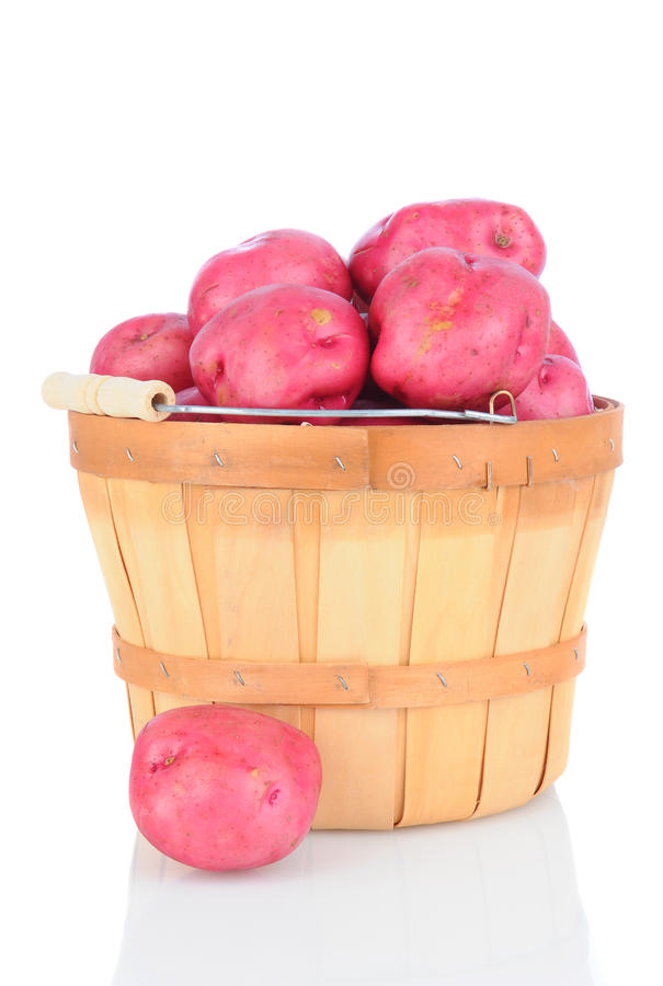 Red Potatoes In Basket On White Stock Image