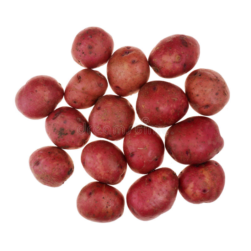 Red potatoes on white