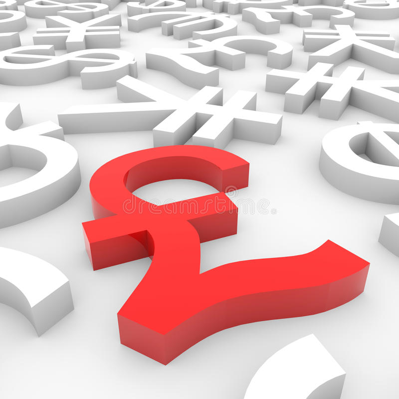 Download Red Pound Sign Around Another Currency Signs. Royalty Free Stock Photography - Image: 23641527