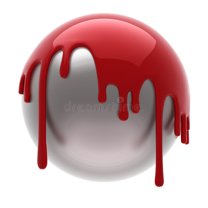 Red poured ball. Red poured steel ball isolated vector illustration